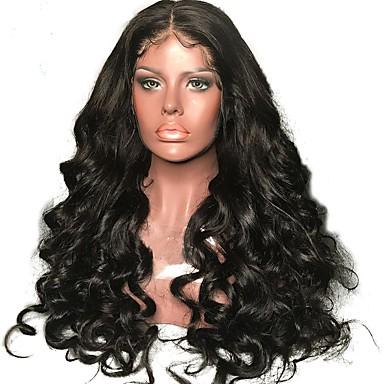 שיער אנושי חלק קדמי תחרה ללא דבק / חזית תחרה פאה שיער ברזיאלי גלי / גלי טבעי פאה עם שיער תינוקות 130% שיער טבעי / בתולה100% / לא מעובד בגדי ריקוד נשים בינוני / ארוך פיאות תחרה משיער אנושי