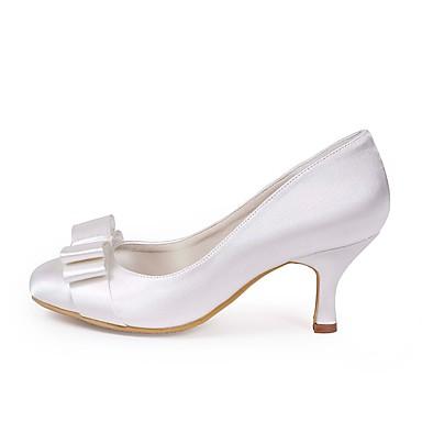 Basique Femme Blanc Bas Chaussures amp; de Chaussures 06473761 Soirée Evénement mariage Noeud Soie Eté Mariage Talon Escarpin ouvert Printemps Bout p6BqX6f