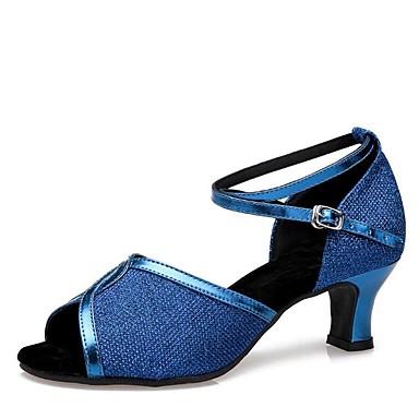 נעליים לטיניות Paillette / דמוי עור סנדלים עקב עבה מותאם אישית נעלי ריקוד שחור / כסף / כחול