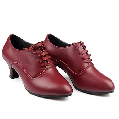 בגדי ריקוד נשים נעליים מודרניות עור עקבים שחבור עקב מותאם מותאם אישית נעלי ריקוד אדום