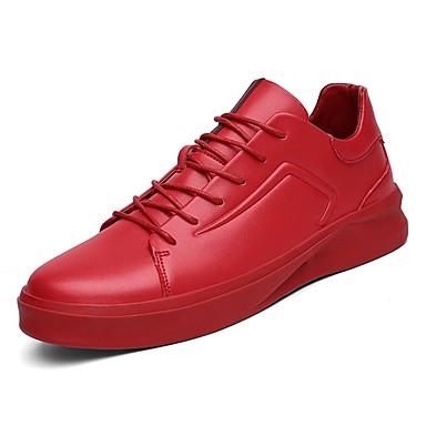 נעליים עור עור נאפה Leather אביב סתיו נוחות נעלי ספורט ל קזו'אל לבן שחור אדום