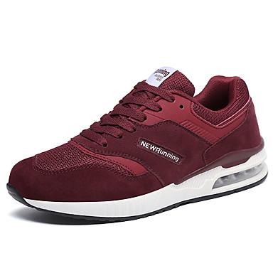בגדי ריקוד נשים נעליים טול / PU אביב / סתיו נוחות נעלי אתלטיקה ריצה עקב נמוך בוהן עגולה בז' / אפור / Wine