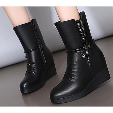 בגדי ריקוד נשים עור סתיו / חורף נוחות / מגפיים אופנתיים מגפיים עקב טריז מגפיים באורך אמצע - חצי שוק שחור / אפור
