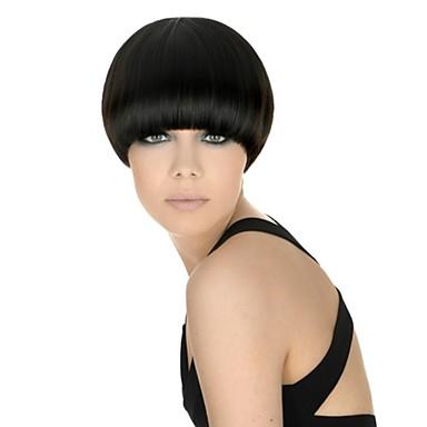 פאות סינתטיות ישר תספורת בוב שיער סינטטי שיער מובהר שחור / סגול פאה בגדי ריקוד נשים ללא מכסה