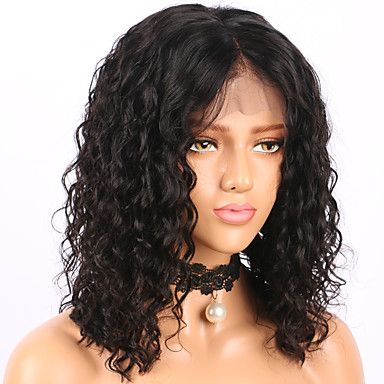 3d0af19ce42 Human Hair Glueless Lace Front Lace Front Wig Bob Short Bob Middle Part  style Brazilian Hair Curly Water Wave Wig 130% Density with Baby Hair  Natural ...