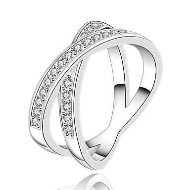 בגדי ריקוד נשים זירקונה מעוקבת טבעת הטבעת - נחושת אופנתי 7 / 8 לבן עבור יומי קרנבל