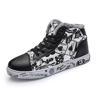 בגדי ריקוד גברים PU חורף נוחות נעלי ספורט ורוד ולבן / שחור לבן / לבן וכחול