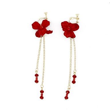 בגדי ריקוד נשים עגילי קליפס - פרח, Apila אדום עבור חתונה נשף רקודים