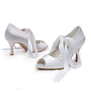 Eté Ruban Evénement Chaussures Escarpin Printemps Talon Mariage Blanc 06472183 Soirée Femme de Soie ouvert Basique Bout Chaussures mariage amp; Aiguille Otxwg4