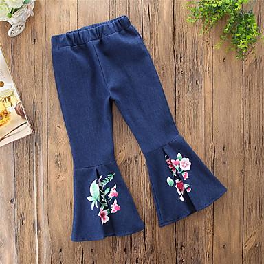ג'ינס כותנה פוליאסטר אביב כל העונות יומי ליציאה אחיד פרחוני בנות וינטאג' יום יומי פול