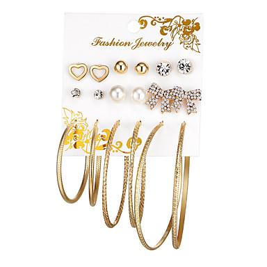 בגדי ריקוד נשים קריסטל עגילים צמודים / טבעות חישוקים - דמוי פנינה לב, פפיון מתוק, אופנתי, אלגנטית זהב / כסף עבור מתנה / אָהוּב