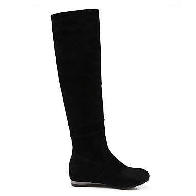 Femme Cuissarde synthétique Mode Strass Bottes Automne pour Hiver Bottes Talon 06465462 Bout Plat Laine à rond Chaussures Velours la Bottes 4FnrA4
