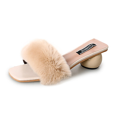 נעליים נוצות\פרווה אביב נוחות כפכפים & כפכפים עקב נמוך שחור / בז' / קפה