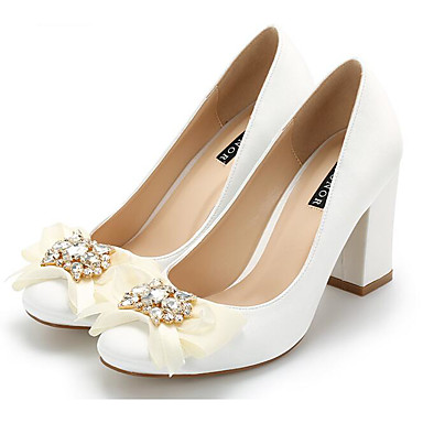 בגדי ריקוד נשים נעליים משי אביב / סתיו נוחות עקבים עקב עבה לבן