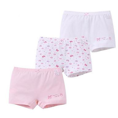 levne Dívčí prádlo a ponožky-3 kusy Děti Dívčí Proužky Bavlna Spodní prádlo a ponožky Světlá růžová
