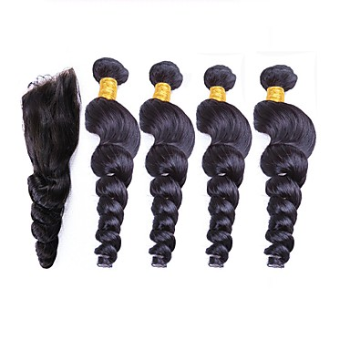 baratos Extensões de Cabelo Natural-4 pacotes Cabelo Peruviano Ondulação Larga 10A Cabelo Natural Remy Cabelo Humano Ondulado 12-26 polegada Tramas de cabelo humano Extensões de cabelo humano