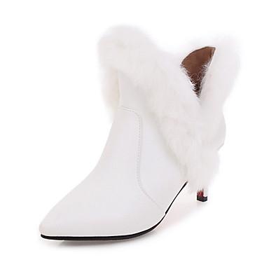 בגדי ריקוד נשים נעליים דמוי עור סתיו / חורף מגפיים אופנתיים מגפיים עקב סטילטו מגפונים\מגף קרסול לבן / שחור / אדום