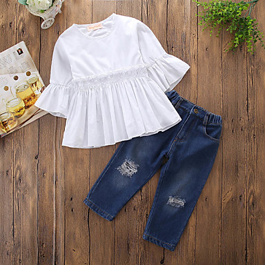 75ae36285ea21 Toddler Girls' Simple Casual Daily Going out Solid Colored Striped Ruched  Ripped Half Sleeve Regular Regular Cotton Polyester Clothing Set Blue