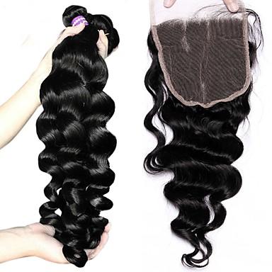 baratos Extensões de Cabelo Natural-3 pacotes com fechamento Cabelo Brasileiro Ondulação Larga 10A Cabelo Virgem Trama do cabelo com Encerramento Tramas de cabelo humano Extensões de cabelo humano