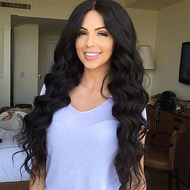 לא מעובד חלק קדמי תחרה ללא דבק פאה שיער ברזיאלי / גלי משוחרר פאה 130% שיער טבעי / פאה אפרו-אמריקאית בגדי ריקוד נשים ארוך פיאות תחרה משיער אנושי