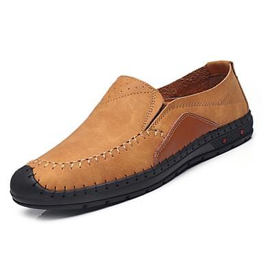 נעליים מיקרופייבר PU סינתטי אביב סתיו נוחות נעליים ללא שרוכים ל קזו'אל שחור חום חאקי