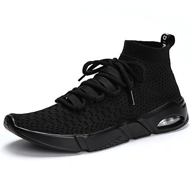 נעליים סריגה אביב קיץ נוחות נעלי ספורט ל קזו'אל בָּחוּץ לבן שחור אפור אדום