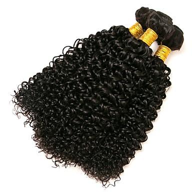 3 paket Brasilianskt hår Kinky Curly Äkta hår Human Hår vävar 8-28 tum Hårförlängning av äkta hår Människohår förlängningar Dam / Sexigt Lockigt