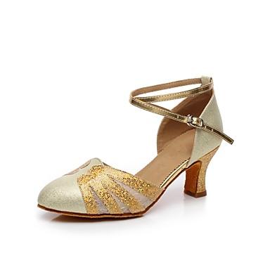 בגדי ריקוד נשים נעליים מודרניות סטן עקבים שחבור עקב מותאם מותאם אישית נעלי ריקוד כסף / כחול / נמר / בבית