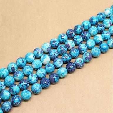 תכשיטים DIY 46 יח חרוזים אבני חן סינתטיות כחול עגול חָרוּז 0.8 cm עשה זאת בעצמך שרשראות צמידים