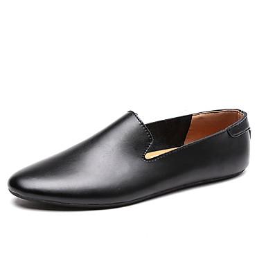 בגדי ריקוד גברים נעלי נוחות עור / PU אביב / קיץ נעליים ללא שרוכים לבן / שחור / חום