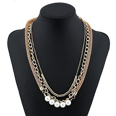 בגדי ריקוד נשים שרשרת / שרשראות Layered - דמוי פנינה פשוט, אופנתי זהב שרשראות תכשיטים עבור Party, מתנה