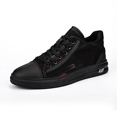בגדי ריקוד גברים PU אביב / סתיו נוחות נעלי ספורט שחור / שחור אדום