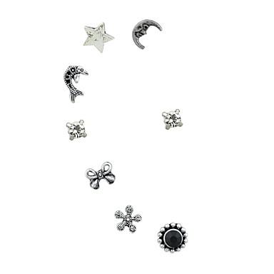 בגדי ריקוד נשים עגילים צמודים / חפתים אוזן - חיקוי טורמלין MOON, כוכב בסיסי, רוק כסף עבור יומי / פגישה (דייט)