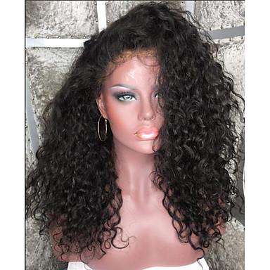שיער אנושי ללא דבק, תחרה מלאה / תחרה מלאה פאה שיער ברזיאלי Kinky Curly פאה תספורת בוב / תספורת שכבות / עם פוני 130% שורשים כהים / שיער טבעי / בתולה100% בגדי ריקוד נשים פיאות תחרה משיער אנושי