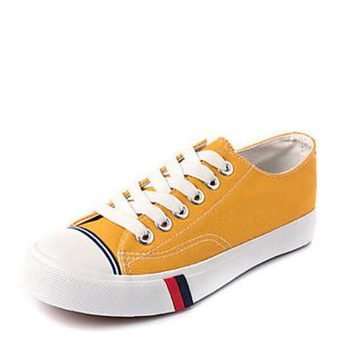 בגדי ריקוד נשים נעליים קנבס סתיו נוחות נעלי ספורט שטוח בוהן סגורה צהוב / ירוק צבא / ירוק