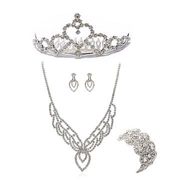 בגדי ריקוד נשים סט תכשיטים - יהלום מדומה לוכד חלומות ארופאי, אופנתי לִכלוֹל נזרים סטי תכשיטי כלה לבן עבור חתונה Party