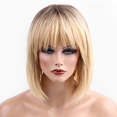 Human Hair Capless Wigs Human Hair Straight Ombre Hair / Dark Roots Medium Length Machine Made Wig Women's