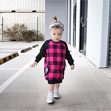 שמלה כותנה אביב קיץ שרוול ארוך יומי ליציאה דפוס קולור בלוק משובץ הילדה של יום יומי סגנון רחוב פוקסיה