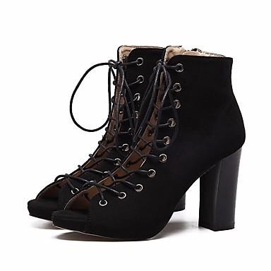 בגדי ריקוד נשים נעליים עור נובוק אביב / סתיו נוחות / מגפיים אופנתיים מגפיים עקב עבה מגפונים\מגף קרסול שחור