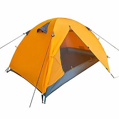 2 Pessoas Barracas de Acampar Leves Dupla Camada Poste Dome Barraca de acampamento Ao ar livre A Prova de Vento, Prova-de-Água, Portátil para Caça / Pesca / Equitação 1500-2000 mm Poliéster Tafet