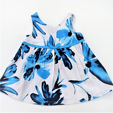 שמלה ללא שרוולים קפלים / דפוס פרחוני פעיל / בסיסי בנות תינוק / חמוד