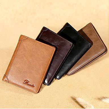 מחזיקי כרטיס אשראי / לולאה מעור / ארנקים - קיפול חיצוני אגבי עור אמיתי קפה, חום, חאקי