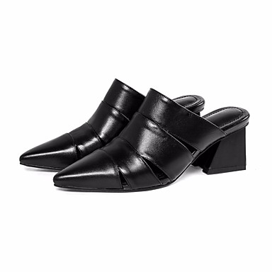 בגדי ריקוד נשים נעליים עור נאפה Leather / עור אביב / סתיו נוחות סוגי כפכפים עקב עבה שחור / בז'