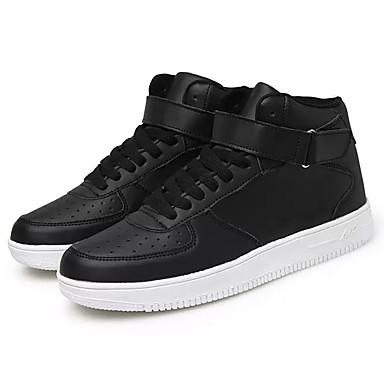 בגדי ריקוד גברים אור סוליות PU אביב / סתיו נעלי ספורט לבן / שחור / שחור לבן