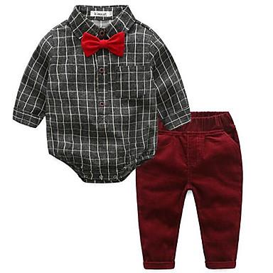 סט של בגדים כותנה שרוול ארוך אחיד פשוט בנים תִינוֹק