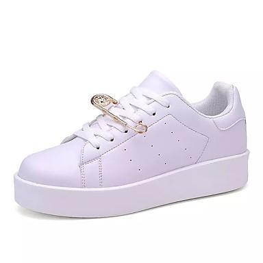 Mulheres Sapatos Couro Ecológico Primavera Outono Conforto Rasos Sem Salto Ponta Redonda Cadarço para Casual Branco Branco/Preto