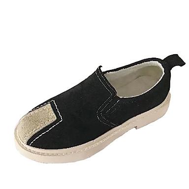 בגדי ריקוד נשים נעליים PU אביב נוחות נעליים ללא שרוכים שטוח בוהן עגולה שחור / שקד