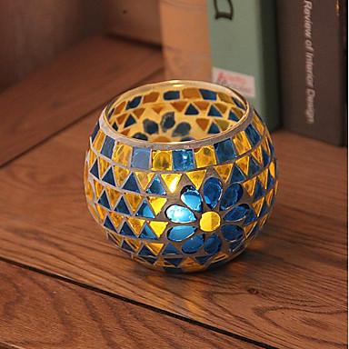 ארץ / כפרי / סגנון ארופאי זכוכית פמוטים 1pc, מחזיק נר / נרות
