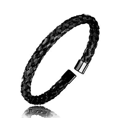 abordables Bracelet-Bracelet Jonc Homme Magnétique Acier Inoxydable Bracelet Bijoux Noir Argent Or Rose Forme de Cercle pour Quotidien Sortie