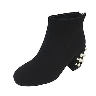 בגדי ריקוד נשים נעליים עור נובוק סתיו / חורף נוחות / מגפיים אופנתיים מגפיים עקב עבה מגפונים\מגף קרסול שחור / שקד